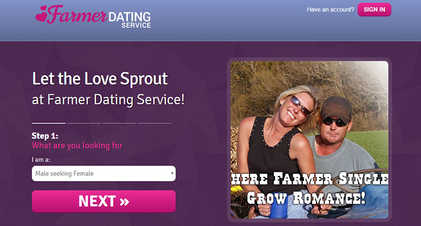 Farmer Dating Service Homepage
